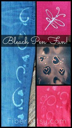 Bleach Pen Fun! Decorating Fabric with Bleach. Reverse Dyeing. A FiberArtsy.com Free Tutorial