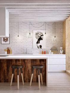 cuisine mur de brique blanc et beaux détails