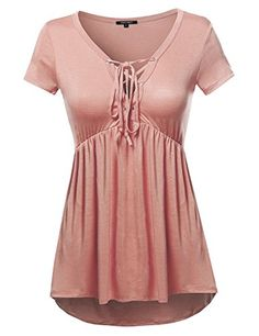 Casual Solid Soft Stretch Short Sleeve Lace Up Front Top Mauve Size L *** Click on the image for additional details.Note:It is affiliate link to Amazon.