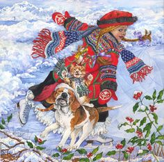 Wendy Edelson  snow christmas girl dog ukrainian