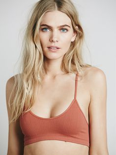 Free People Baby Racerback | American made ribbed bralette with a V-Neck and lattice back detailing.