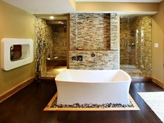 Contemporary Master Bathroom with Master bathroom, Rain Shower Head, Sliced Stone Pebble Tile in Multi by Parvatile