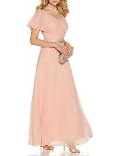 9a1662294  Quiz Peach Chiffon V-Neck Maxi Dress - Dresses - Sale - Dorothy Perkins