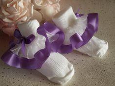 Girls/' Ruffled Sock-Lilac Satin