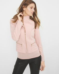 """The word of the day is: soft. And our latest jacket, with its muted-pink color and plush knit fabrication, meets all expectations. As an ode to the moto trend, we gave this knit edgy soft gold zippers.   Knit moto jacket  Polyester/rayon/spandex. Machine wash.   Regular: Approx. 22.5"""" from shoulder   Petite: Approx. 21.5"""" from shoulder  Imported"""