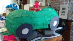 busytown birthday - pickle car pinata.  This was awesome.  And not hard.  But messy.