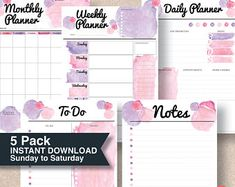 A5 & full size organizer - Pink watercolor printable planners Sun to Sat start. 4 sizes. Also available in Monday start planners | #625