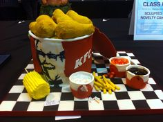 Award winning KFC bargain bucket, everything is edible and either cake or icing... Sweet!