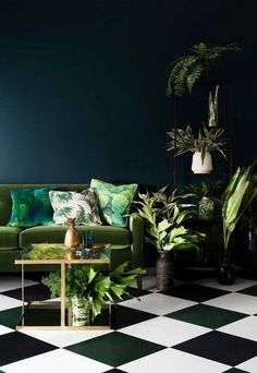 We know this is techincally not  a dining space, but, adding botanical inspired prints and lashes of green with various potted plants can even work on a darker rooms and backgrounds.