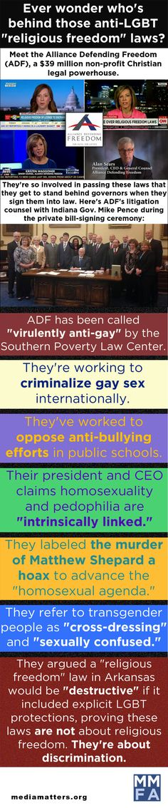"""Ever Wonder Who's Behind All Those Anti-LGBT """"Religious Freedom"""" Laws? [Media Matters site http://mediamatters.org]"""
