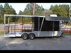 BLACK BBQ CONCESSION TRAILER W/PORCH