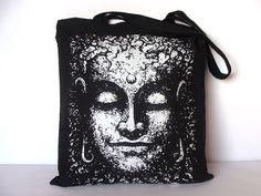 Buddha tote bag, Canvas tote bag, Yoga bag, Buddha yoga bag, Screen printing tote bag, Yoga accesories, Tote bag, Shopping bag by artmonydesigns on Etsy https://www.etsy.com/listing/217537002/buddha-tote-bag-canvas-tote-bag-yoga-bag