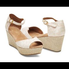 """TOMS Floral Jacquard Wedge Our platform wedges are an exceptional blend of casual and timeless elegance. The floral jacquard fabric gives it a unique refinement while the burlap wrapped wedge keeps it casual.  Minimal wear.   High wedge sandal Jacquard upper Heel height is approximately 3 5/8"""" TOMS Shoes Wedges"""
