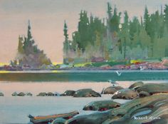 Soft Morning, Gabriola 12X16 - Robert Genn Canadian Painters, Canadian Artists, Art Pics, Art Pictures, Art Studies, Acrylic Art, Fine Art Gallery, Watercolours, Acrylics