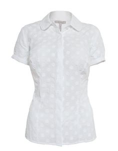 I need some Bravissimo smart tops  Floral Dobby Blouse in White by Pepperberry - Short sleeve shirt with subtle all over floral embroidery and hidden front button fastening