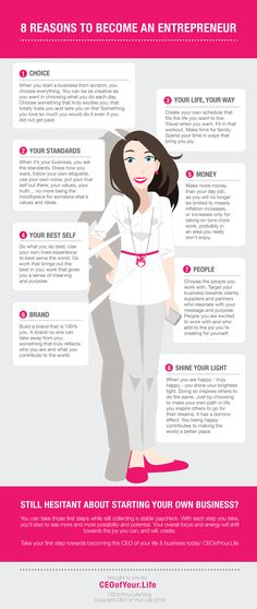 8 REASONS TO BECOME AN ENTREPRENEUR - An Infographic from Create an orgasmically joyful life & business