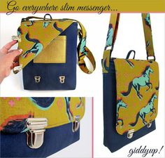 Slim Messenger Bag with Push Locks from Sew 4 Home