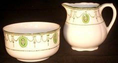 ROYAL DOULTON CHINA POTTERY JUG & BOWL COUNTESS PATTERN D6316 FROM OLD TEA SET. To buy this go to www.Browse-a-while.com and contact us