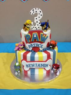 Paw Patrol Theme Party Birthday Cake Pastel