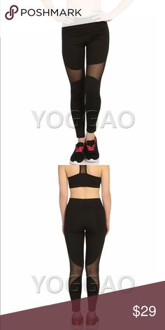 Leggings YOGGAO Wear / USA -----------------------------------------------  * Women's Yoga Pants Mesh Leggings Sports Gym Active Running Fitness Pilates and Sexy  * High quality Europe Standard    * Production of Turkey (Textile & Fasion Center in Europe)   * %85 Polyester & %15 Lycra   * Excellent design leggings for Yoga, Pilates and Barre. Designed in super soft, stretchy fabric with fashion-forward mesh panels   * They stay fully opaque black side out.    * Free returns on all orders…