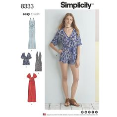 Purchase Simplicity 8333 Misses' Knit Jumpsuit and Dress and read its pattern reviews. Find other Easy to Sew, Dresses, Jumpsuit, sewing patterns.