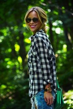 $15 Today ✌ Black & White Checkered Flannel Top
