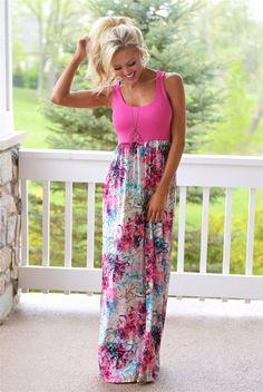 Secret Garden Maxi Dress - Pink