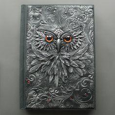 """""""Owl queen with fire eyes"""" Polymer clay journal by Mandarin Duck.  www.mandarin-duck.com"""