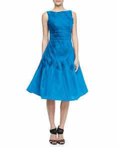 Oscar de la Renta A-Line Cocktail Dress with Chiffon Ribbons - Neiman Marcus