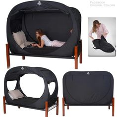 http://www.privacypop.com/ - This pop-up bed tent would make a great sensory space for calming. Also comes in blue, orange, pink, tan and digital camo print.