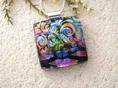 Dichroic Jewelry   Pink Rainbow Necklace  Fused by ccvalenzo, $26.00