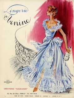 Arnine (Lingerie) 1957 Stef.  MJ:  I wear something like this every night, while brushing my long, rich, wavy chestnut hair.