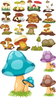 Cartoon Mushroom Drawings | Cartoon mushrooms vector