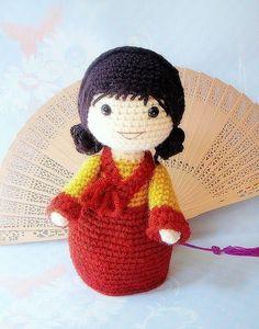 Mina  - Crochet Amigurumi korean girl doll pattern / PDF by TGLDdoll, $4.95