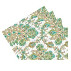 Raymond Waites Premium Quality Reversible Placemats - Set of 4 (Beige/Green Flowers Pattern) - Placemat 14 in x 18 in Raymond Waites