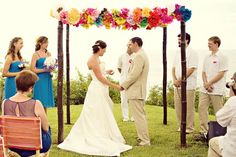 Simple Bamboo Chuppah | Bright & Colorful Flowers
