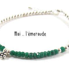 Née en mai - l'émeraude : offrez lui la pierre du mois de sa naissance sur un joli bracelet en argent 925.