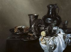 Title: Still Life with Meat Pie, 1633 Artist: Willem Claesz Heda Medium: Hand-Painted Art Reproduction
