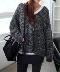 $11.82 Bat-Wing Sleeves Single-Breasted Acrylic Casual Style Solid Color Cardigan For Women