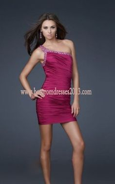 Fuchsia Short Tight Prom Dresses with One-Shoulder Fashion [Fuchsia Prom Dresses] - $149.00 : Discount Dresses for Prom 2013,Up 50% Off