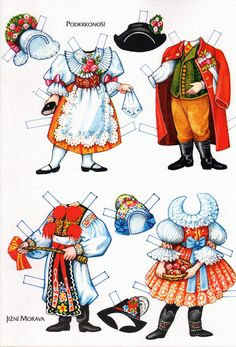 Czechoslovakia, Moravia and Slovakia Traditional Costumes - outfits, Origami… Paper Toys, Paper Crafts, Paper Doll Costume, Origami, Boys And Girls Clothes, Paper Dolls Printable, Thinking Day, Vintage Paper Dolls, How To Make Paper