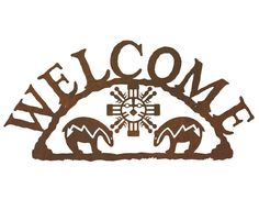Fetish Bear Metal Welcome Sign - Rustic Outdoor Wall Decor