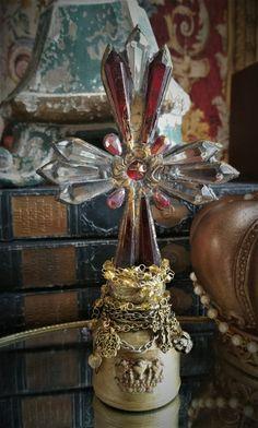 Vintage Cross Bottle Crown Decorative French Shabby Chic Boho Home Decor by YvonnesBottleDecor on Etsy