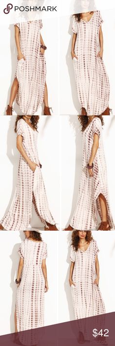 """Tied Dyed Maxi Dress Mochas tie dyed maxi dress  Oversized fit with side pockets. V neck Non sheer  Fabric is very stretchy Curved hem line 96% Rayon 4% Spandex  Medium measurements  ✨Bust: 38""""  ✨Length: 56"""" Bewitched Boutique Dresses Maxi"""