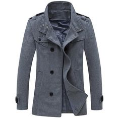 Zippered Epaulet Design Stand Collar Pea Coat ($37) ❤ liked on Polyvore featuring men's fashion, men's clothing, men's outerwear and men's coats