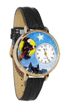 Halloween Flying Witch Black Skin Leather And Goldtone Watch