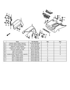 Honda Odyssey FL350 Roll Bar Diagram and Parts list