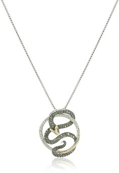 14k Yellow Gold Sterling Silver Diamond Snake Pendant Necklace (3/8cttw, I-J Color, I2-I3 Clarity), 18' * Click on the image for additional details.