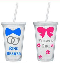 Ring Bearer And Flower Girl Tumbler, Ring Bearer Flower Girl Gift. Personalized Tumbler, Ring Bearer Cup Flower Girl Cup