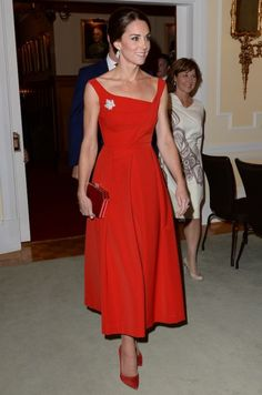 The Duchess wore the 'Finella' dress by British brand Preen with suede Russell & Bromley heels to attend a Goverment of British Columbia reception at Government House  in Victoria, Canada